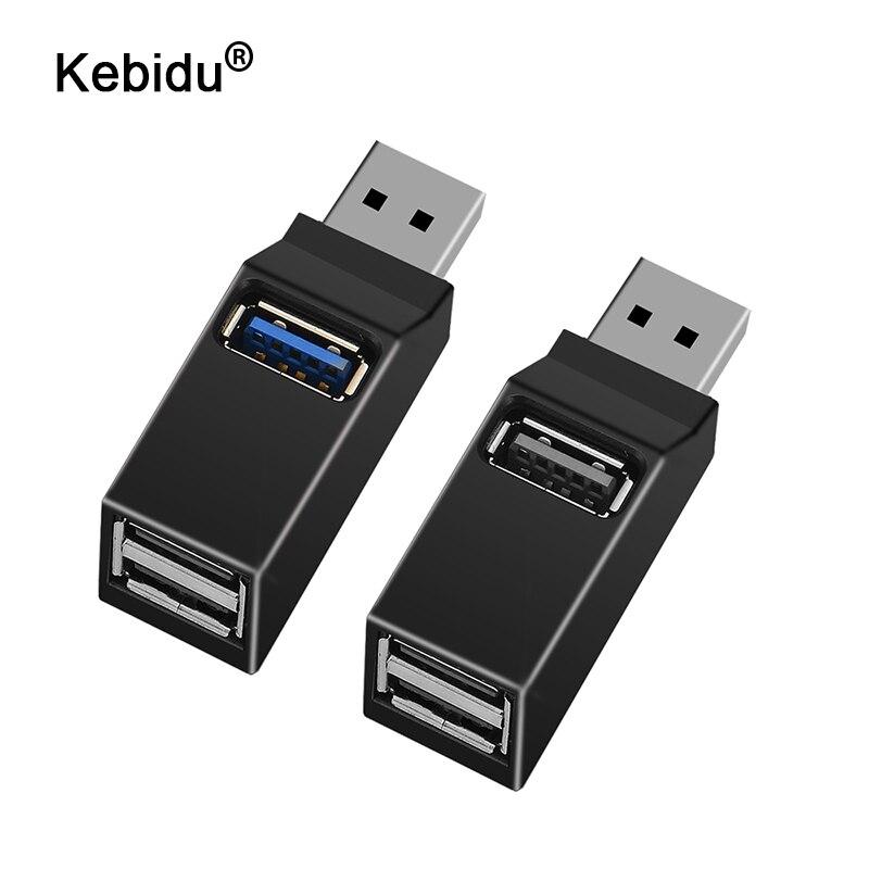 Universal Mini 3 puertos USB 3,0 Hub de alta velocidad de transferencia de datos adaptador de caja para MacBook Pro ordenador portátil Multi-Puerto USB Hub