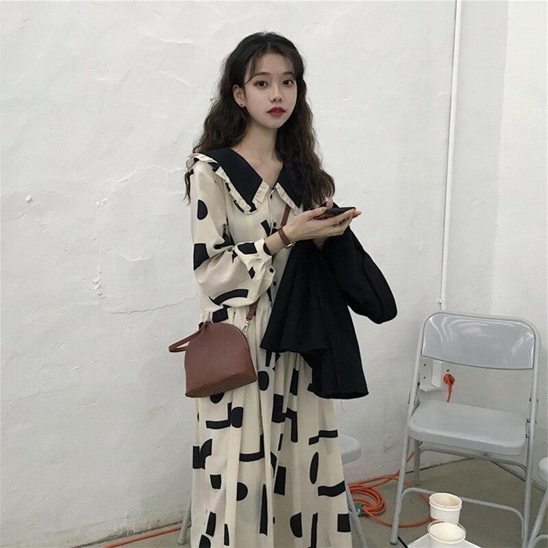امرأة الملابس الربيع والخريف عادية لطيف دمية طوق فستان امرأة