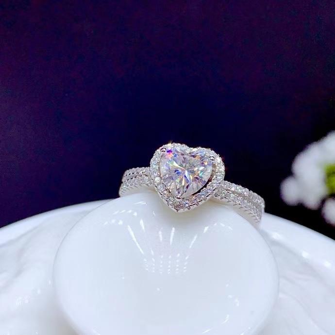 القلب نمط طقطقة المويسانتي الأحجار الكريمة الدائري للنساء مجوهرات خاتم الخطوبة ل الزفاف 925 خاتم فضة هدية عيد الحب