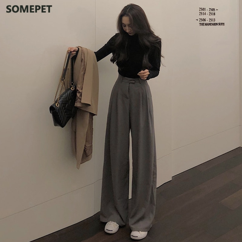 Spring Autumn Female Solid Wide Leg Pants Women Full Length Pants Ladies High Quality simple Casual