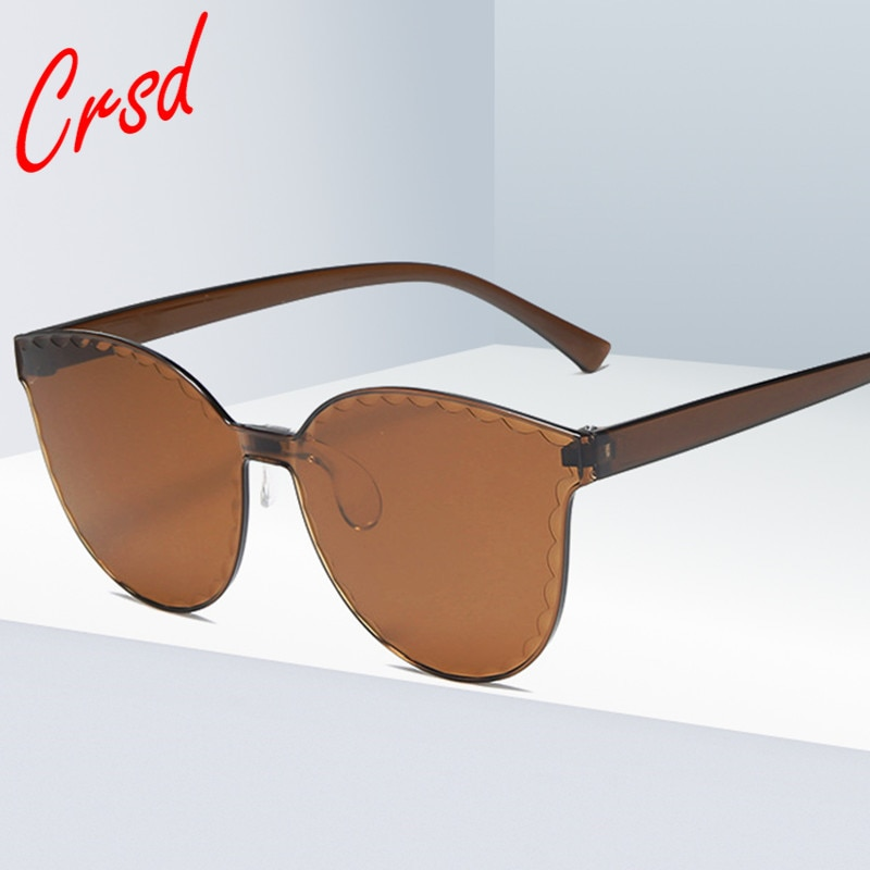 CRSD 2020 Women Fashion Round Retro Sunglasses One-Piece Glasses Women Candy Color Quality Glasses U