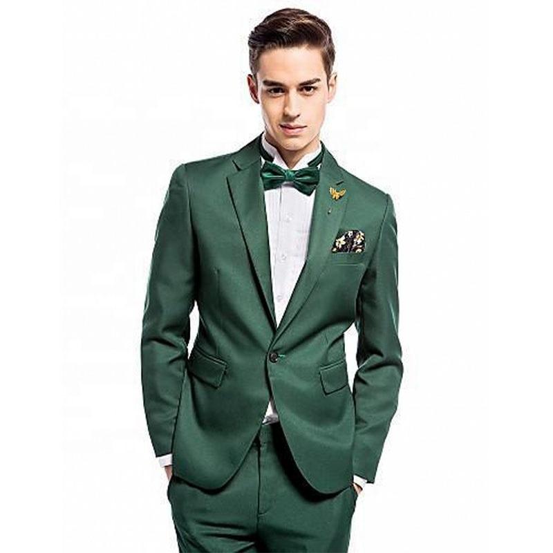 بدلة رجالية رياضية خضراء غير رسمية لحفلات التخرج وحفلات الزفاف ، بلغت ذروتها طية صدر السترة 2 قطعة ، مجموعة سترة السراويل موضة جديدة