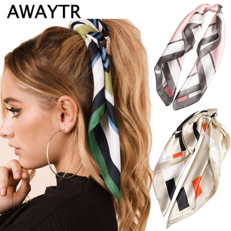 Женский шарф с хвостиком AWAYTR, повязка на голову с цветочным принтом, летняя мода