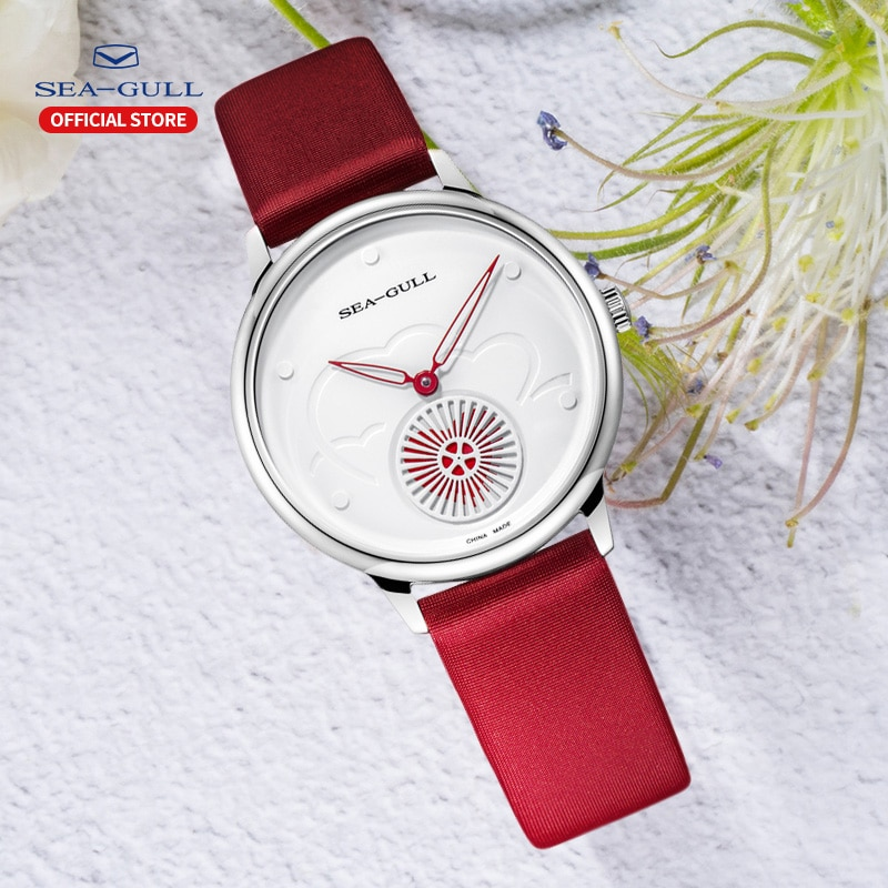 Seagull Watch Fashion Ladies Automatic Mechanical Watch Ultra-Thin Hollow 30m Waterproof Leather Valentine Watches 813.96.6024L enlarge