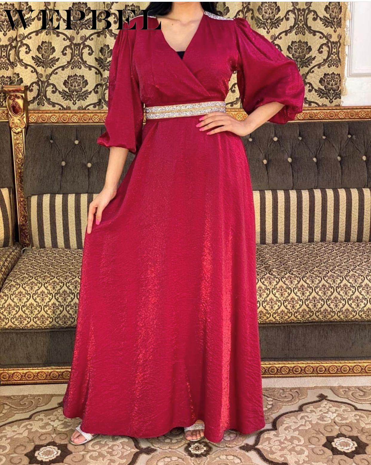 WEPBEL-vestido informal con cinturón de diamante para mujer, Túnica cintura alta, musulmán,...