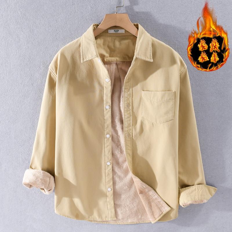 Мужская однотонная флисовая рубашка с длинным рукавом, теплая Повседневная приталенная рубашка в японском стиле Харадзюку, Осень-зима