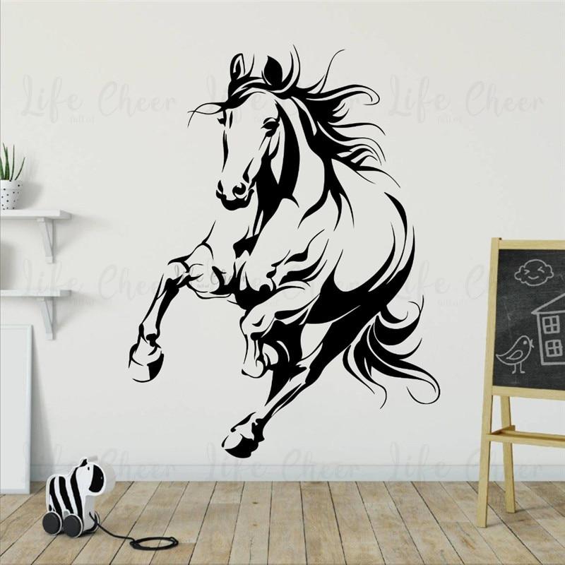 Calcomanía de pared Animal salvaje caballo corriendo vinilo pegatinas decoración del hogar animales tema pared cartel PVC tallado pegatina AC519