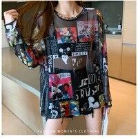 disney anime mickey minnie mouse brand mesh tshirt ladies sun protection transparent long sleeve blouse women t shirt summer