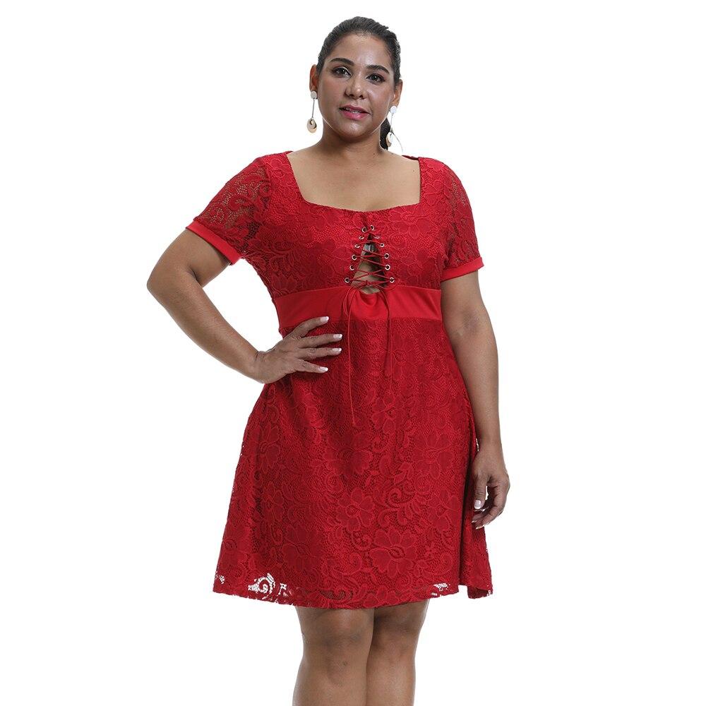 Распродажа женских сексуальных планшетов, кружевное платье средней длины с коротким рукавом, однотонное платье с квадратным вырезом и шнур...