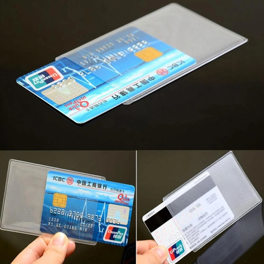 10pcs/lot Women Men Credit Card Cover Bag PVC Transparent Clear Frosted Waterproof Business ID Cards Holders Protect Bags