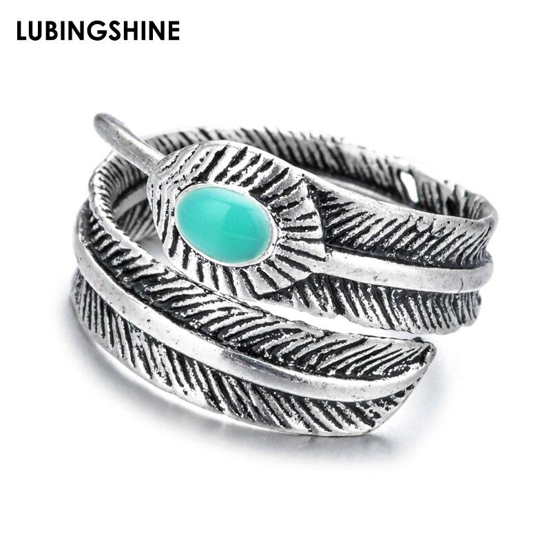 20 pçs/lote retro antigo prata cor pena abertura anéis para mulheres anel de jóias por atacado