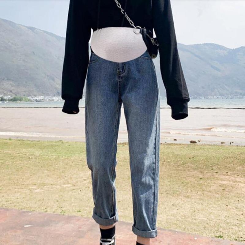 Vintgae Washed Denim Maternity Jeans for Pregnant Women Clothes Elastic Waist Belly Loose Pants Pregnancy Gravidas Clothing 2021 enlarge
