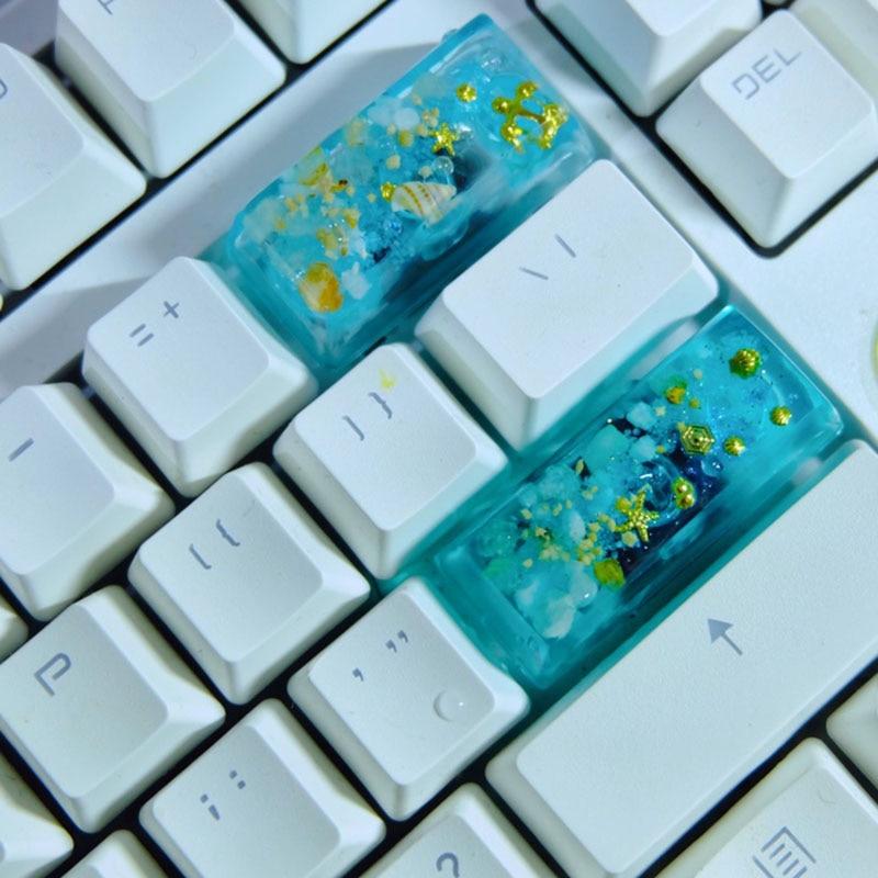 أغطية مفاتيح ميكانيكية أغطية مفاتيح شخصية مصنوعة يدويًا من الراتنج أغطية مفاتيح شفافة مفردة R4 ارتفاع أغطية مفاتيح ESC هدايا للبنات