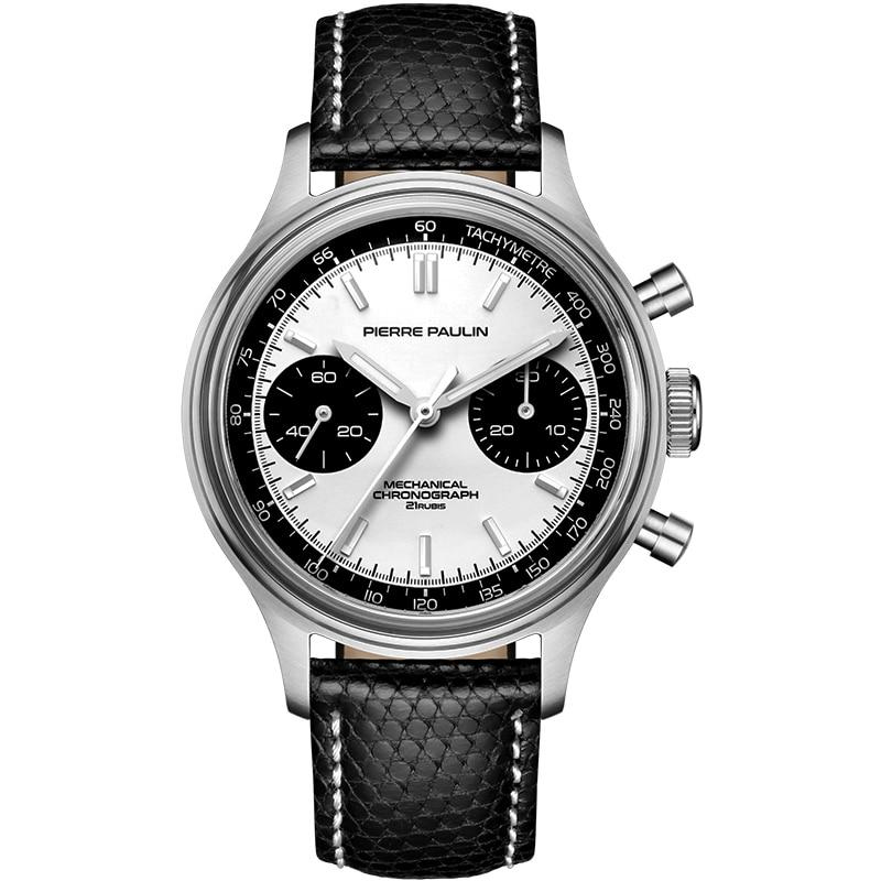 MERKUR كرونوغراف رجالي ساعات رجالية ساعة اليد الرياح الميكانيكية ساعة اليد العلامة التجارية الفاخرة مضيئة حزام من الجلد 30 متر مقاوم للماء