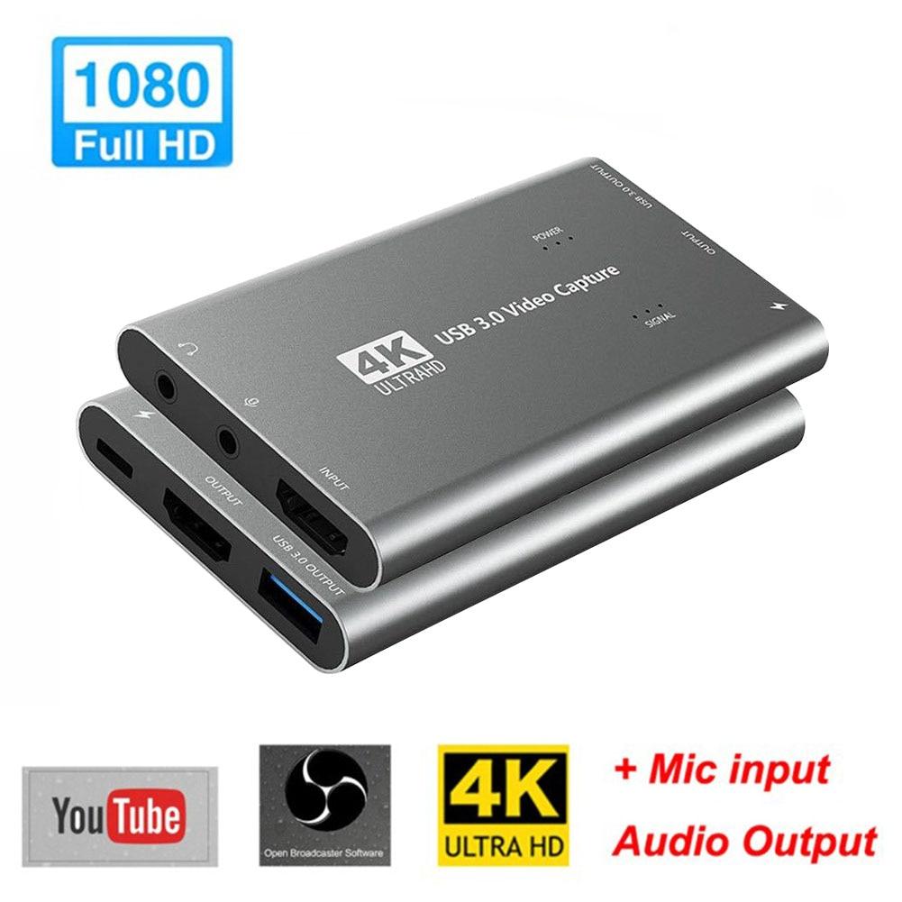 بث مباشر وبطاقة الفيديو مسجل البث المحمولة لعبة مؤتمر المنتزع التوصيل والتشغيل USB 3.0 4K 1080P 60Hz