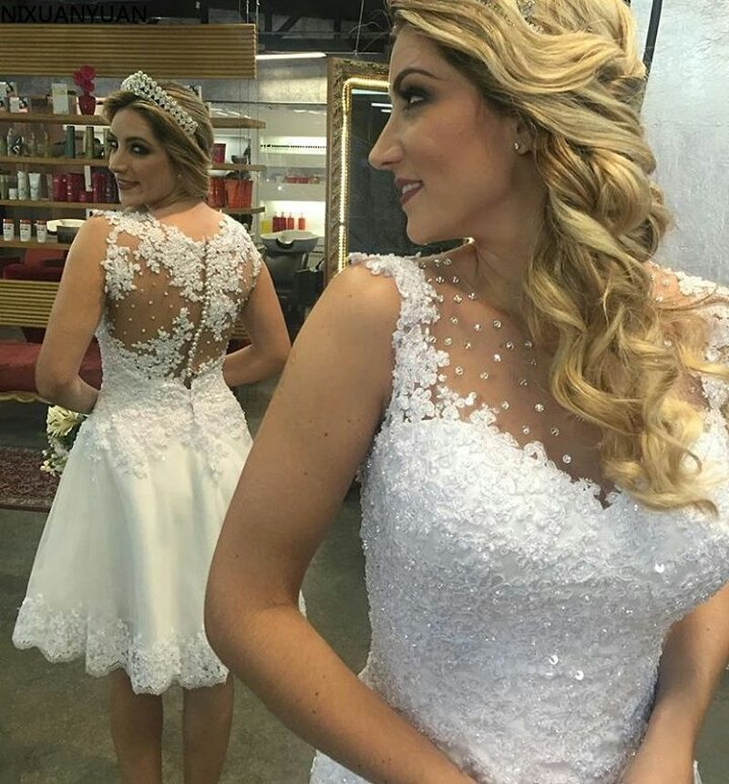 فستان زفاف أنيق بدون أكمام ، قصير ، بطول الركبة ، بدون أكمام ، مع زينة من الخرز