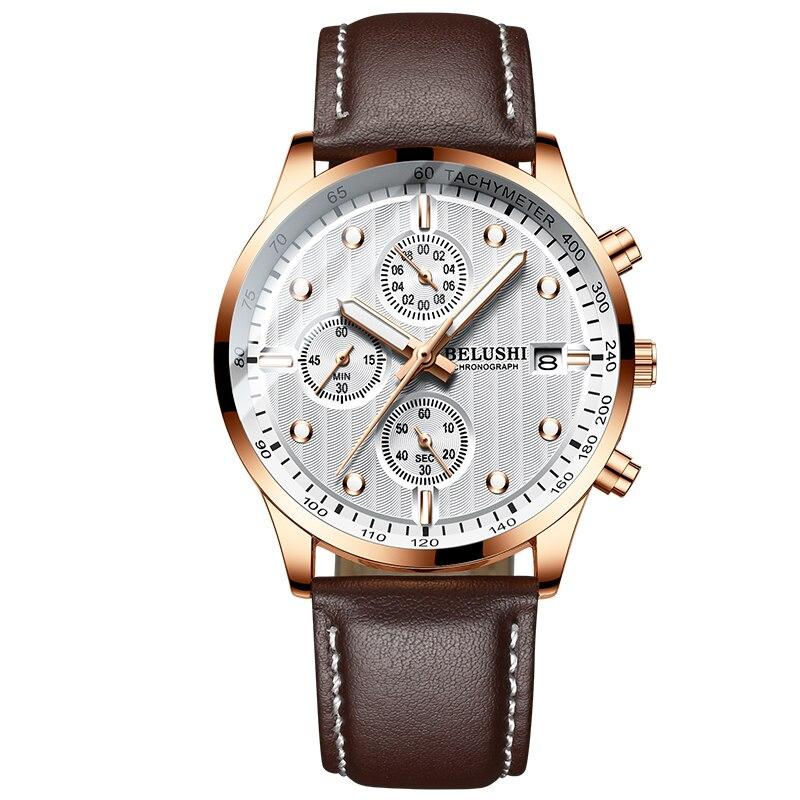 BELUSHI Fashion Leather Men Watches Chronograph Sport Quartz Watch Men Business Waterproof Luminous