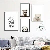 Affiche danimal Simple et a la mode  peinture sur toile danimal mignon Panda  decoration de maison moderne  images dart murales pour salon sans cadre