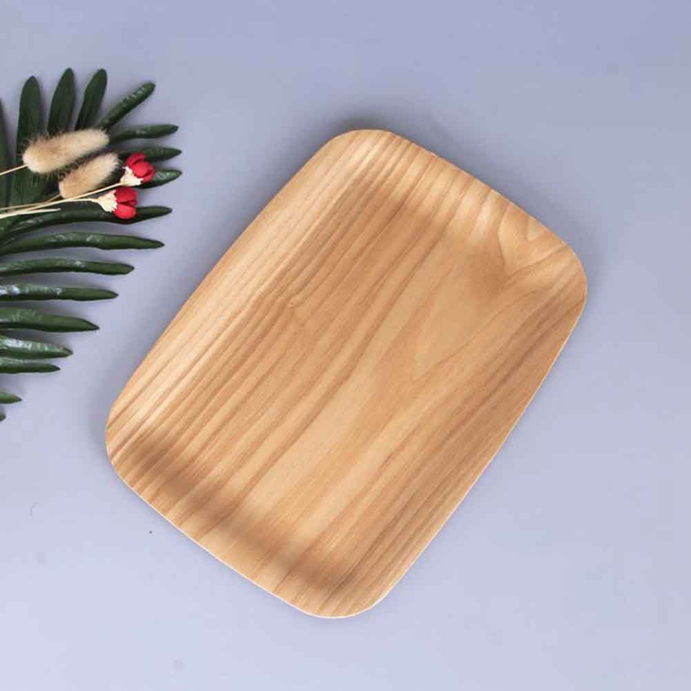 Bandeja de servicio organizador comida casera en la cocina soporte fácil de limpiar almacenamiento tentempié de pan fruta té caramelo plato madera rectangular decorativo