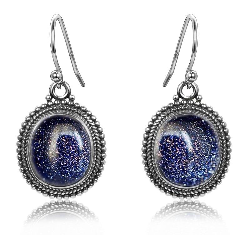 Pendientes con colgante de plata de ley 925 de 10X12, grandes pendientes de gota de piedra arenisca azul Ovalada para mujer, fiesta de boda de moda al por mayor