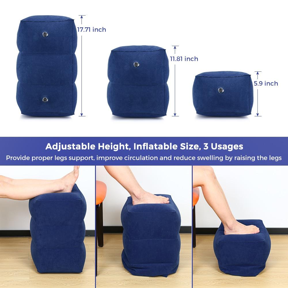Reposapiés inflable de viaje, almohada portátil de altura ajustable para descanso de piernas, bolsa de transporte, avión, hogar, coche y oficina