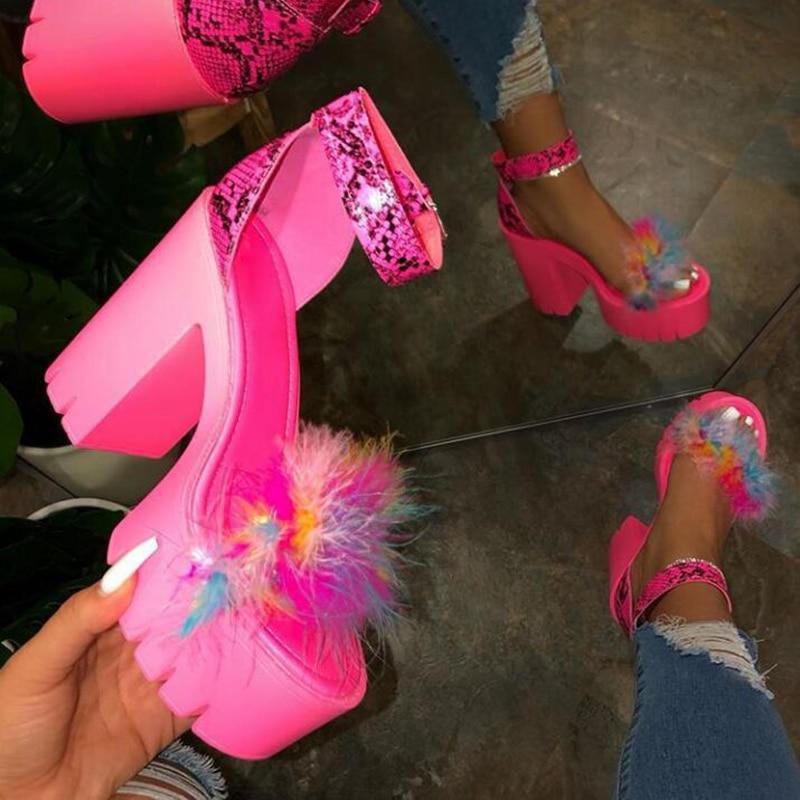 Sandalias de tacón alto BLWBYL, zapatos de piel para mujer, zapatos de tacón 2020 Stripper, zapatos de plataforma con pelo, zapatos para Club nocturno de talla grande, sandalias de mujer