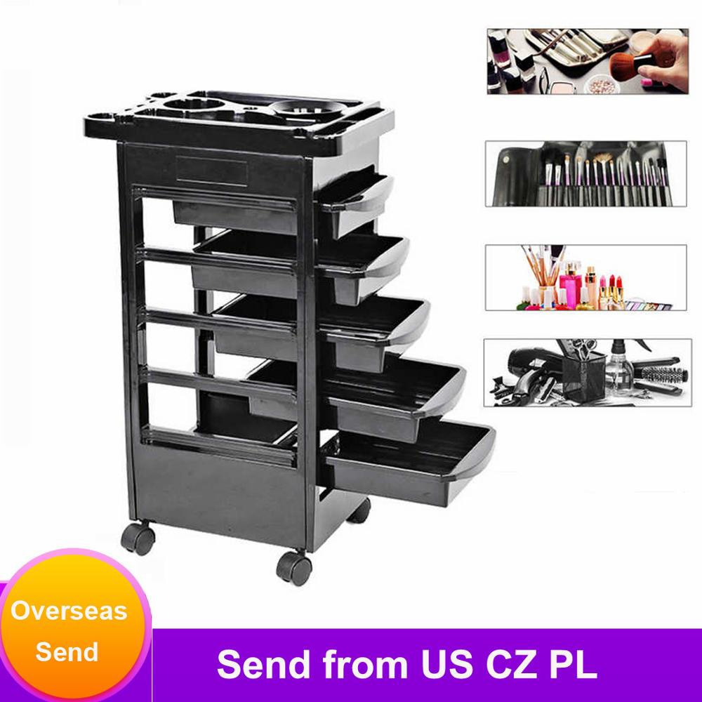52 x 38 x 82cm 5 Drawers Hair Salon Trolley Cart Instrument Storage Adjustable Height Trolley Hairdressing Supplies