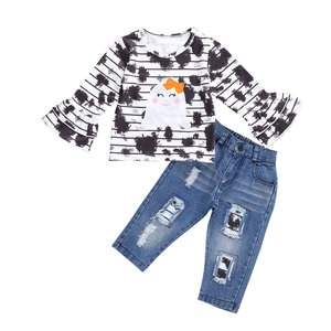 Halloween Little Girl's Clothes Set Long-sleeved Stripe Blooming Round Neck T-shirt Top and Elastic Ripped Jeans Pants Outfits