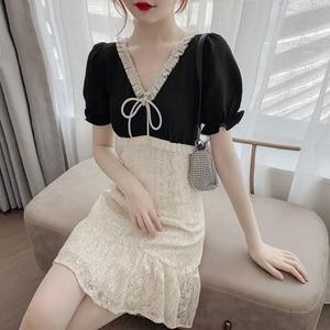 2020 summer new fashion and elegant temperament waist V-neck chiffon stitching comfortable all-match charm short-sleeved dress