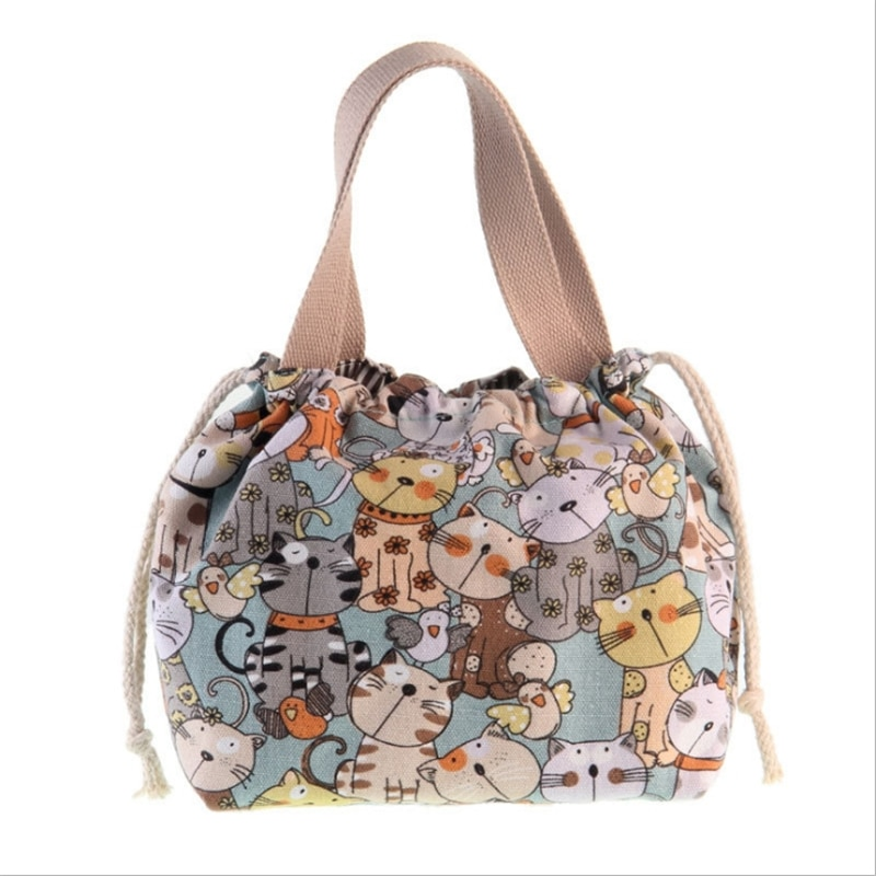 Women's Lunch Bag Drawstring Canvas Handbag Cute Cartoon Rice Bags Printing Portable Lunch Box Bag For Women Casual Coin Purse