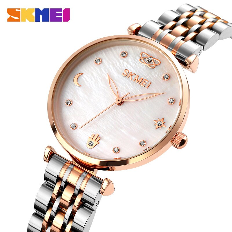 SKMEI Elegant Meticulous Womens Watches Rhinestone Mosaic Fashion Women Quartz Wristwatches Ladies Girls Watch reloj mujer 1800