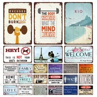 Plaques metalliques de cuisine Vintage  signes en etain  Shabby Chic  pour la maison  decor de bienvenue  30x20cm