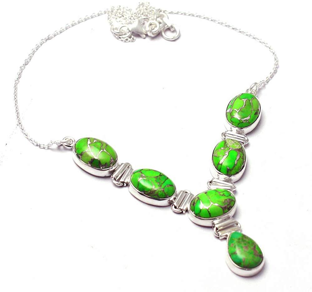 Collar de turquesa verde auténtico, Plata de Ley 925, 46 cm, 2SN0105