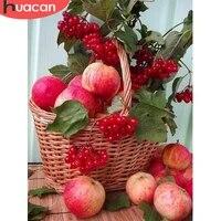 HUACAN     peinture diamant fruits pomme  broderie complete  carre rond  mosaique  strass  fleur  decoration pour la maison  bricolage