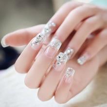 Moda 24 sztuk błyszczące kryształki fałszywe paznokcie przezroczyste koronki zaprojektowany plac pełna krótkim sztuczne paznokcie Nagels na paznokcie uroda