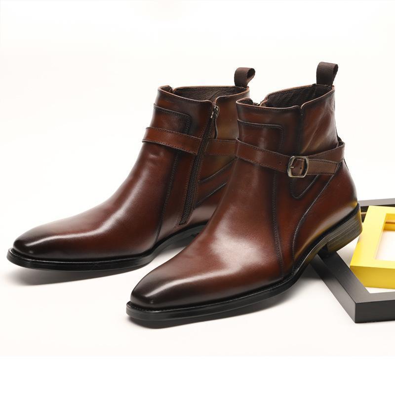 New Business Fashion Dress Pu Leather Shoes Men's Zipper Shoes Cowhide Inner Lining Men's Shoes Soul