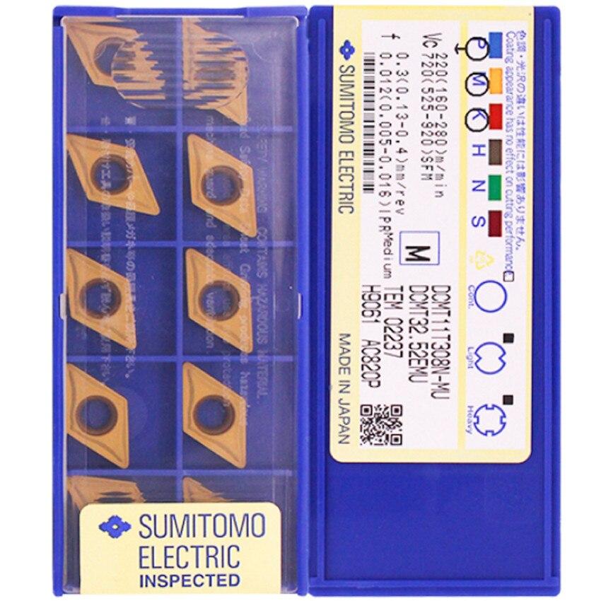 DCMT11T304N-MU AC630M / DCMT11T308N-MU AC630M / DCMT11T304N-MU AC820P / DCMT11T308N-MU AC820P CNC كربيد إدراج 10 قطعة/صندوق