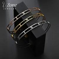 uzone hollow custom letter name bangles stainless steel personalized nameplate cuff bangle bracelets for women men family gift