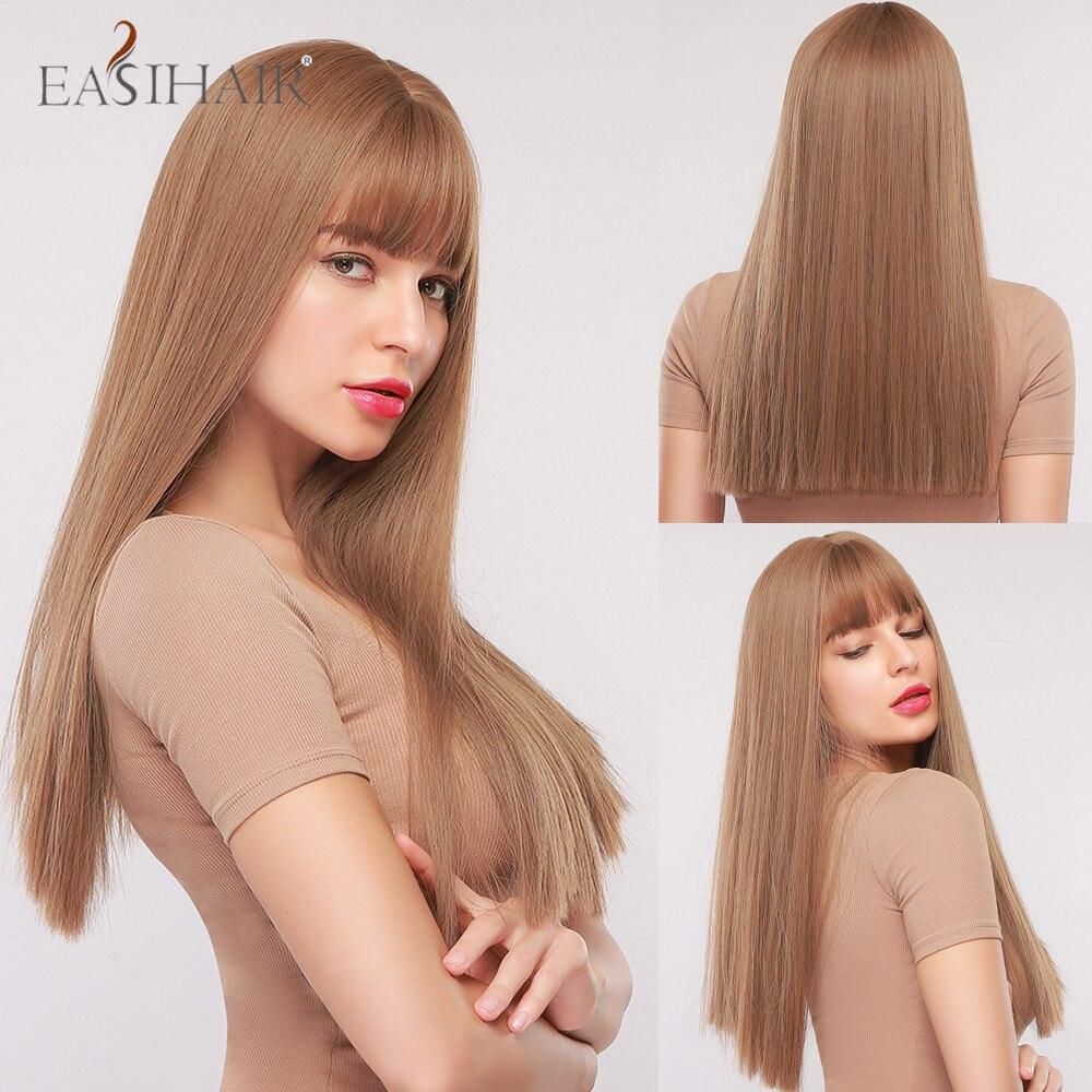 Perruque femme droite marron longue avec Bang Perruques Cosplay synthétiques résistantes à la chaleur pour les femmes noires Perruques brésiliennes