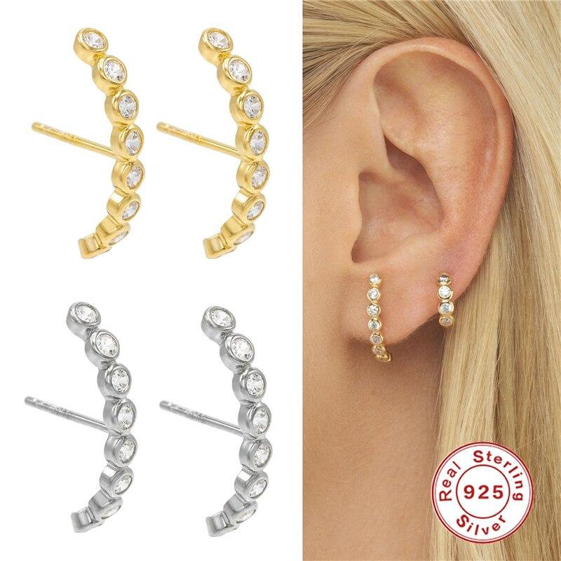 Small Cute Rhinestone Earrings Trendy Rainbow Cubic Zirconia Stud Earrings Gold Plating Zircon Crystal Earrings For Women A30