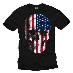 USA FLAG MEN SHIRT with AMERICA SKULL DESIGN SHORT SLEEVE mens t shirts
