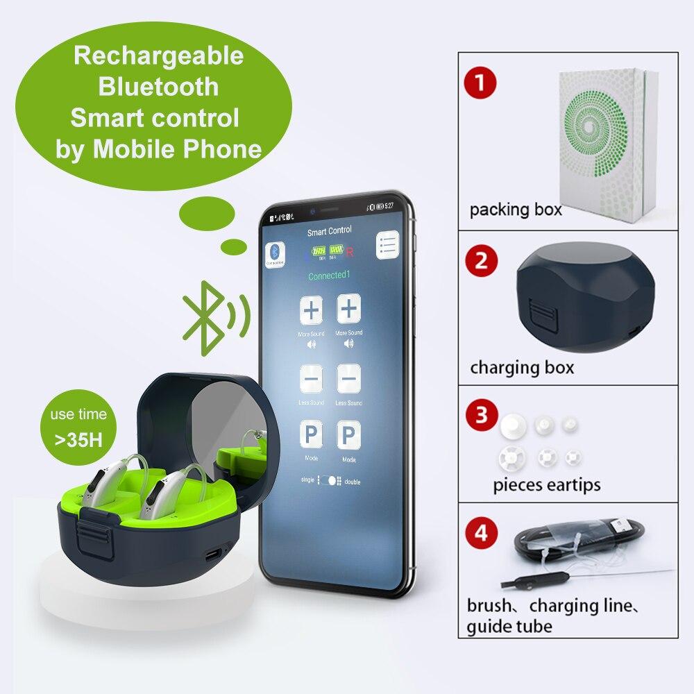 مساعدات سمعية رقمية صغيرة قابلة لإعادة الشحن تعمل بالبلوتوث من أجل الصمم خلف الأذن ومضخم صوت