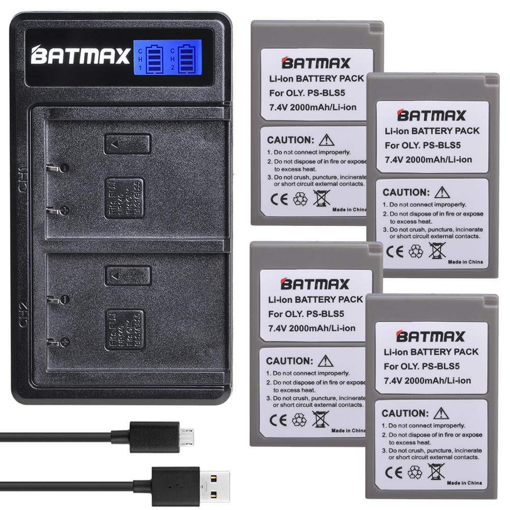 Bateria Batmax PS-BLS5 BLS50 + nowa podwójna ładowarka LCD do Olympus PEN E-PL2, E-PL5, E-PL6, E-PL7, E-PM2, OM-D E-M10, E-M10 II, Stylus1