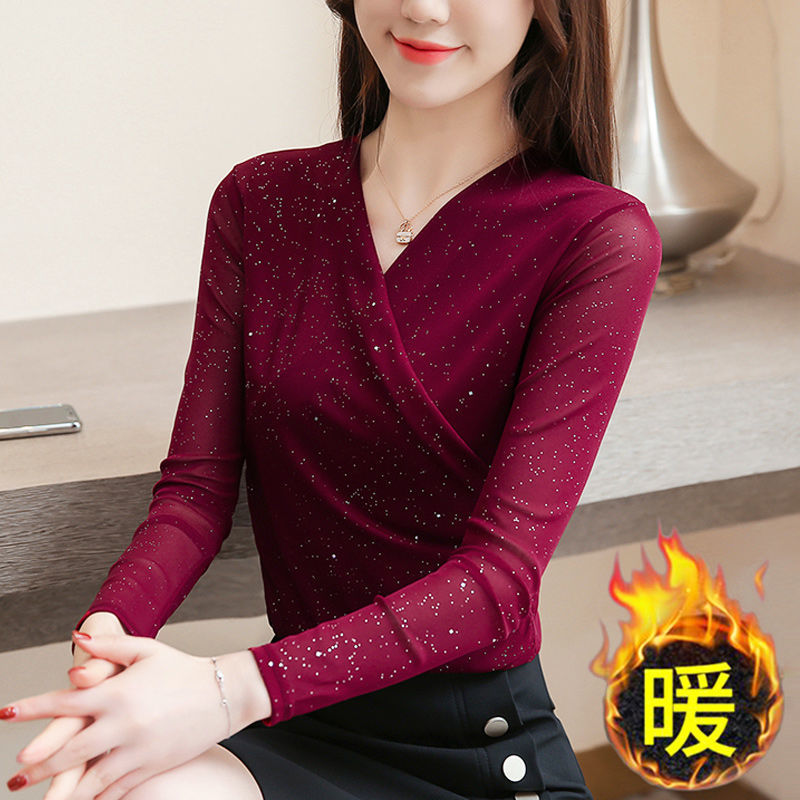 Spring and Autumn Sexy V-neck Long-sleeved Bottoming Shirt Ladies Winter Plus Velvet Thickening Thin Mesh T-shirt Top