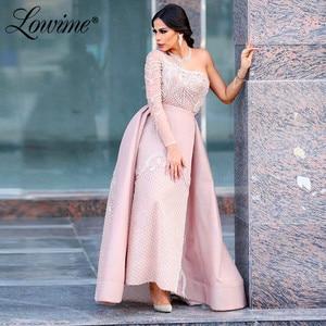 Dubai One Shoulder Pink Saudi Arabia Evening Dress 2020 Elegant Midddle East Beaded Ankle Length Women Party Gown Robe De Soiree