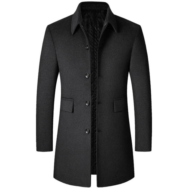 Men's tweed coat in autumn and winter 2021, men's long woolen Polo windbreaker, middle-aged men's wear, thickened men's coat