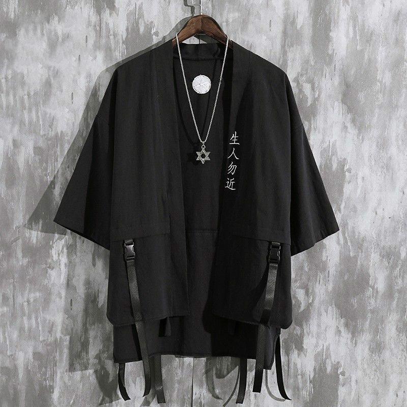 Summer Men's Haori Cardigan Kimono Shirt Samurai Japanese Clothing Robes Loose Obi Male Yukata Jacket Streetwear Asian Clothes