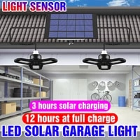 double head solar garage lamp 60w 80w solar deformable lamps folding led ceiling lights for camping courtyard garden lighting