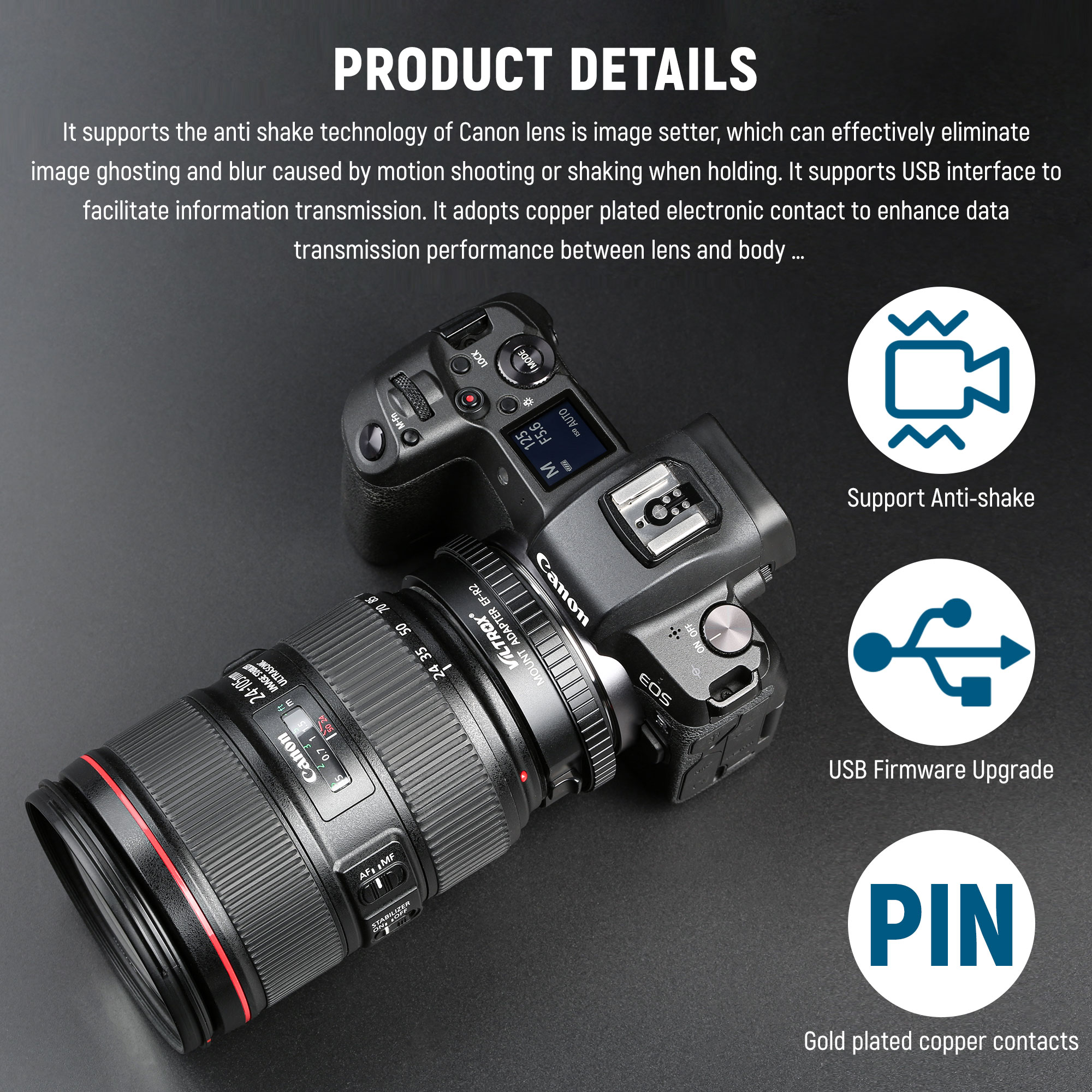 Viltrox EF to RF Auto Focus Lens Adapter with Functional Control Ring for Canon EF/EF-S Lens to Canon EOS R Mount Camera R5 R6 enlarge