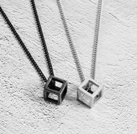 2021 fashionable simple three dimensional square hospitality neck pendant necklace for men and women party jewelry necklace